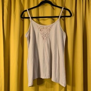 V Neck Tank w Lace Accent Front